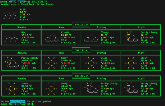 Weather at Your Terminal Command Line